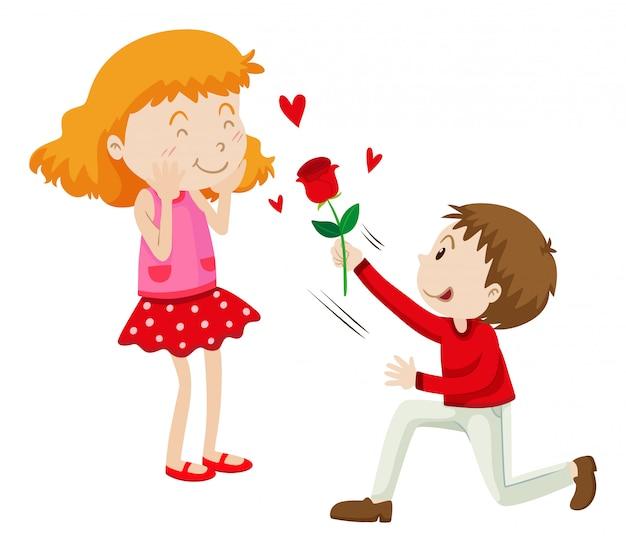 Mann, der seiner freundin rose gibt
