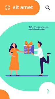 Mann, der seiner schwangeren frau geschenk gibt