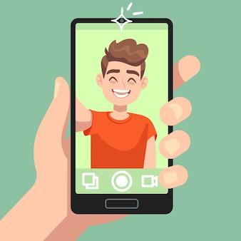 Mann, der selfie foto auf smartphone nimmt