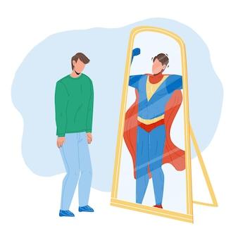 Mann, der sich im spiegel als superheld-vektor sieht. schüchterner mann, der spiegelreflexion betrachtet und superhelden sieht. charakter junger geschäftsmann berufliche leistung flache cartoon-illustration