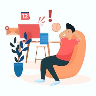 Mann, der sich in einem stuhl entspannt, anstatt zu arbeiten