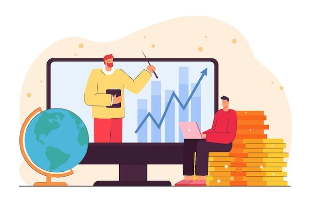 Mann, der sich während der sperrung ein video über die finanzkompetenz ansieht. männliche person, die auf flacher vektorillustration der goldmünzen sitzt
