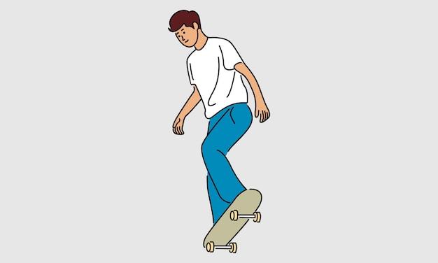 Mann, der skateboard lokalisiert auf grau spielt