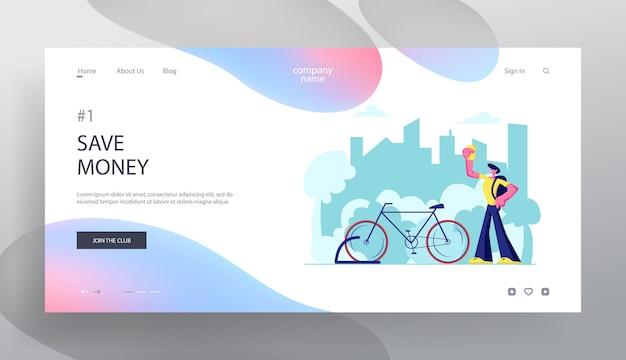 Mann, der smartphone-app für fahrradverleih-service-suche in der großstadt verwendet. website landing page