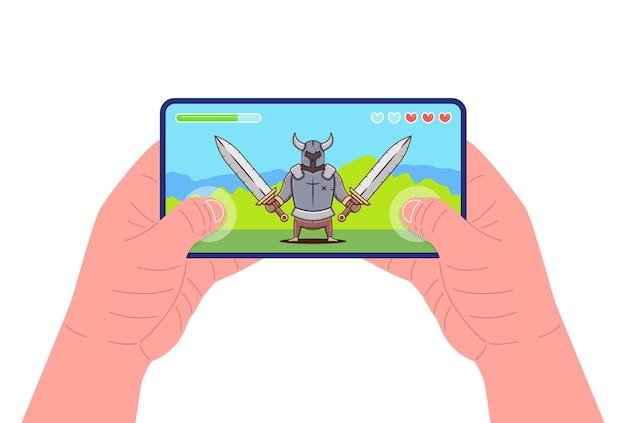 Mann, der smartphone hält und das spiel spielt. mobile gaming-konzept. kriegerfigur auf dem bildschirm. vektor-illustration.