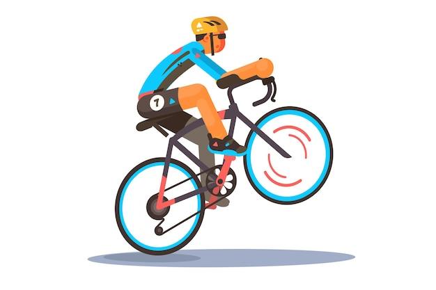 Mann, der sportfahrradillustration reitet. radfahrer in sportbekleidung und helm beim fahrradtrick wheelie