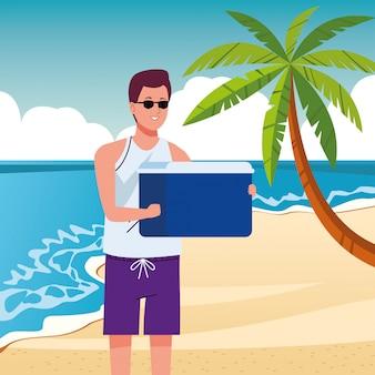 Mann, der strandanzug mit kühlschrankboxcharakter trägt