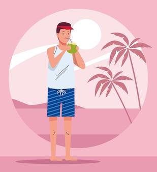 Mann, der strandanzug trinkt, der kokosnusscocktailcharakterillustrationsentwurf trinkt