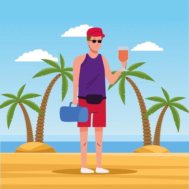 Mann, der strandanzugtrinkcocktailcharakter trägt