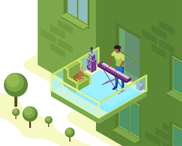 Mann, der synthesizer auf dem balkon des wohngebäudes spielt, musiker mit klavier in der nachbarschaft
