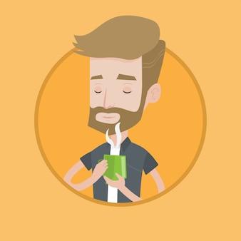 Mann, der tasse heißen kaffeevektorillustration genießt