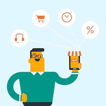 Mann, der telefon angeschlossen mit einkaufsikonen hält.