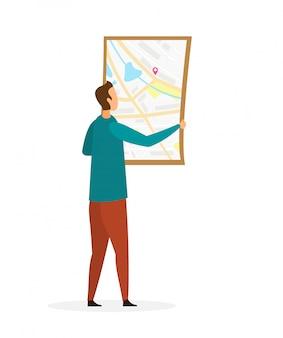 Mann, der topographische karte liest