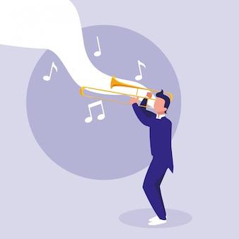 Mann, der trompeteninstrument spielt