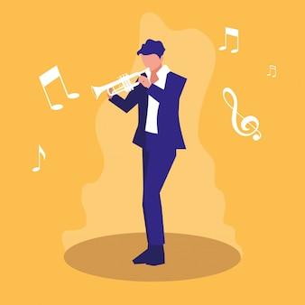 Mann, der trompetenmusikercharakter spielt