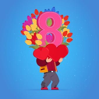 Mann, der tulpen-blumen und rot-herz-glückliches frauen-tages8. märz-feiertags-konzept hält