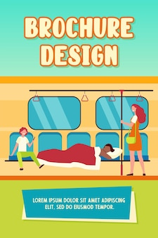 Mann, der unter decke im u-bahnzug schläft. schlafwandler, obdachlose, flache vektorillustration der lachenden passagiere