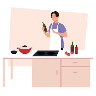Mann, der unter verwendung der schürze kocht, auf küchenszene mit vorräten und gemüse
