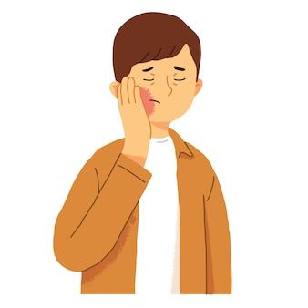 Mann, der unter zahnschmerz leidet