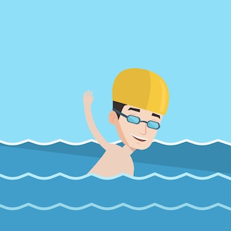 Mann, der vektorillustration schwimmt.