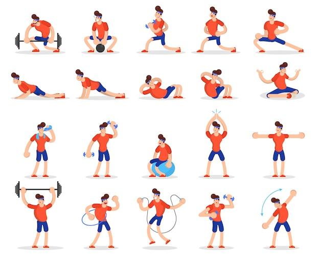 Mann, der verschiedene sportübungssätze tut. ausbildung