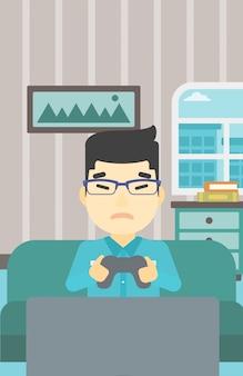 Mann, der videospielvektorillustration spielt.
