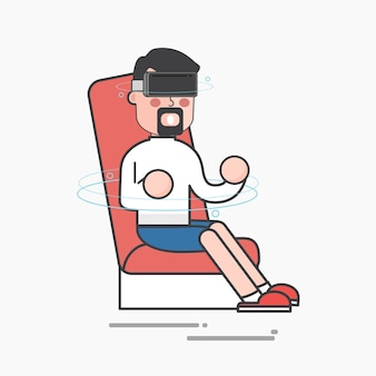 Mann, der virtuelle realität genießt