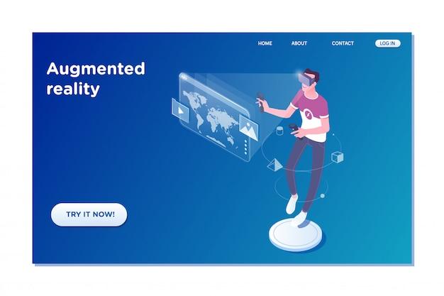 Mann der virtuellen realität mit futuristischer technologieanzeige