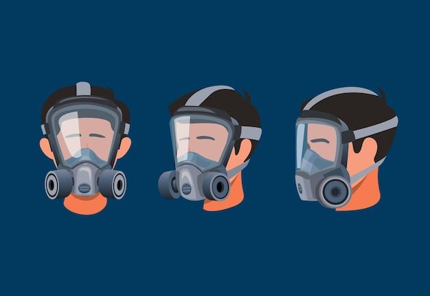 Mann, der vollgesichts-atemschutzmaske trägt. schutzausrüstung für gas- und staubverschmutzungssymbol-symbolsatzkonzept in der karikaturillustration
