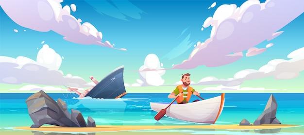 Mann, der vom sinkenden schiff nach schiffbruchunfall-karikaturillustration entgeht