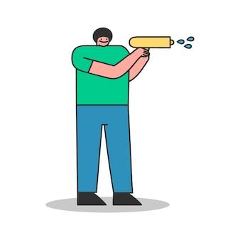 Mann, der von der wasserpistole schießt. männliche karikaturfigur mit wasserpistole isoliert