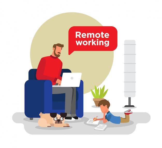 Mann, der von zu hause aus auf seiner couch sitzt, kind, das hausaufgaben macht, ein mops, pflanze und eine lampe.