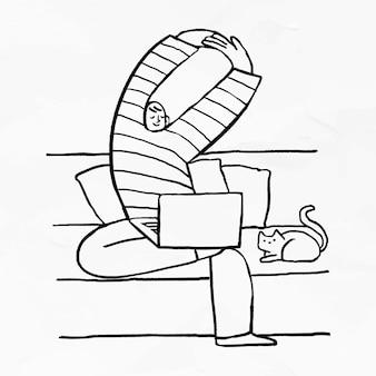 Mann, der von zu hause aus mit seiner katze arbeitet, die neben dem doodle-element-vektor sitzt