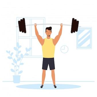 Mann, der wight lifting sportaktivität im haus übt