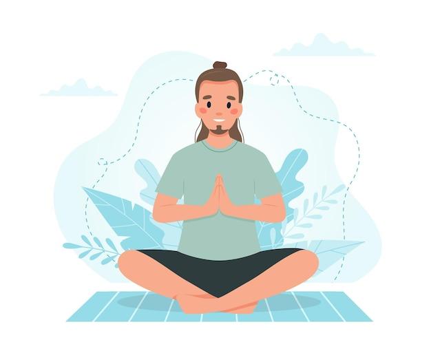 Mann, der yoga praktiziert.