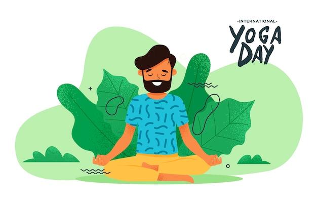 Mann, der yogaübungen in der natur tut