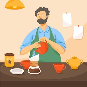 Mann, der zu hause kaffee macht
