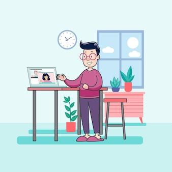 Mann, der zu hause mit ihrem laptop arbeitet, um virusinfektion zu verhindern