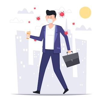 Mann, der zurück zur arbeit geht, während er gesichtsmaske trägt