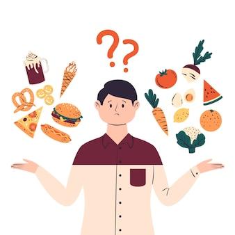 Mann, der zwischen gesunder oder ungesunder lebensmittelillustration wählt