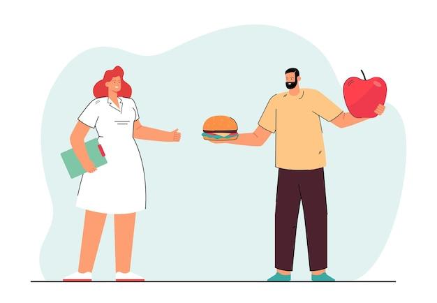 Mann, der zwischen junk- und gesundem essen wählt. flache abbildung