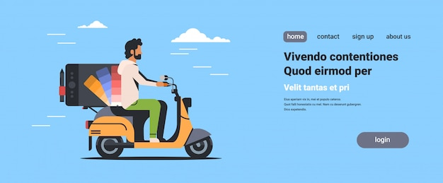 Mann designer reiten roller mit professionellen grafiktablett zeichnung computer