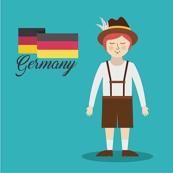 Mann deutschland-kulturavatarvektor-illustrationsdesign