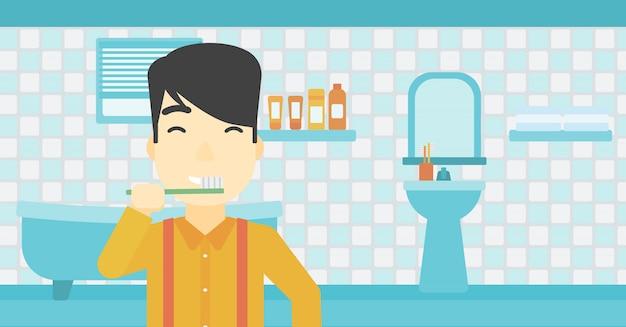 Mann, die zähne putzen