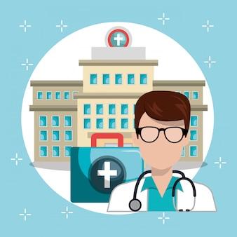 Mann doktor mit medizinischen dienstleistungen icons