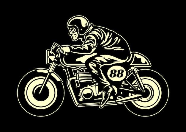Mann einen cafe racer fahren