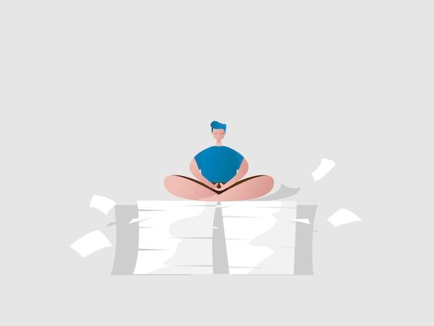 Mann entspannen sitzen in meditationshaltung auf einem stapel papierarbeit