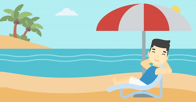 Mann entspannend am strandkorb