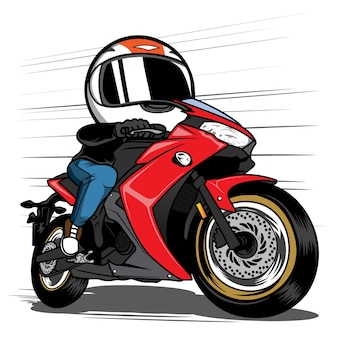Mann fährt motorrad, der rennfahrerkarikatur beschleunigt