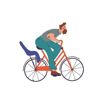 Mann fahren auf rotem fahrrad mit kinderfahrradsitz